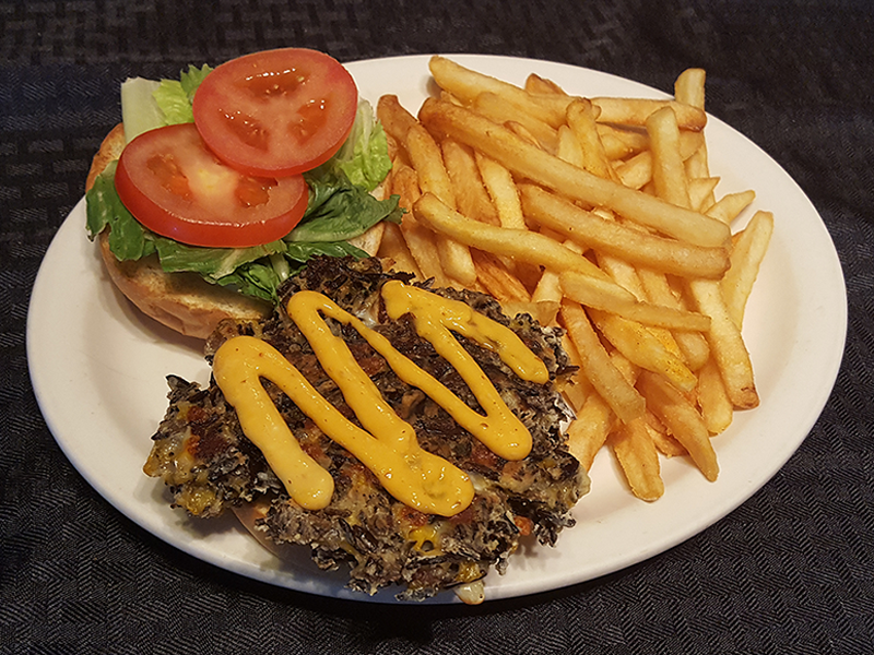 Wild Rice Burger topped with Chipotle Mayo